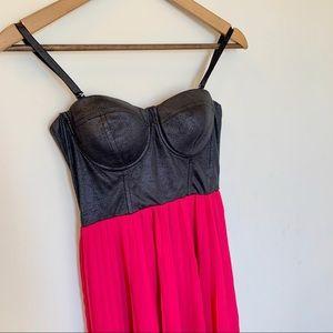 Strapless Leather & Chiffon Pleated Hi-Lo Dress